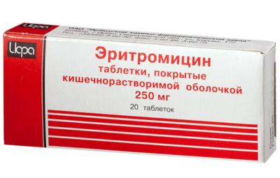 Таблетки Эритромицин